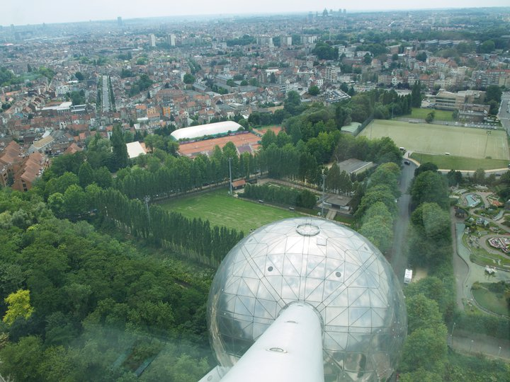 Brussels as seen from the inside of the Atomium