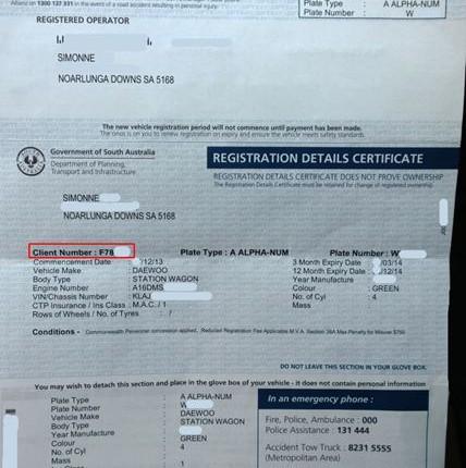 Automobilio registracijos dokumentas, australų vadinamas REGO