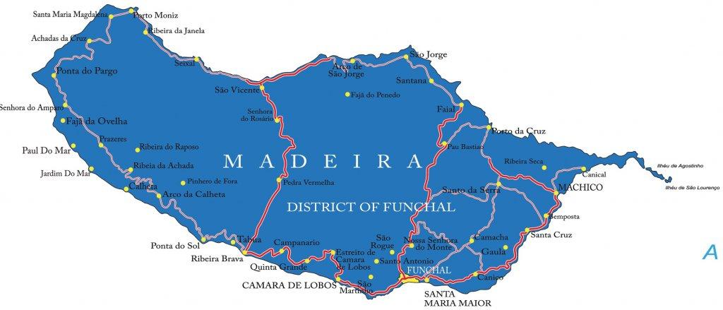 Madeiros sala zemelapis