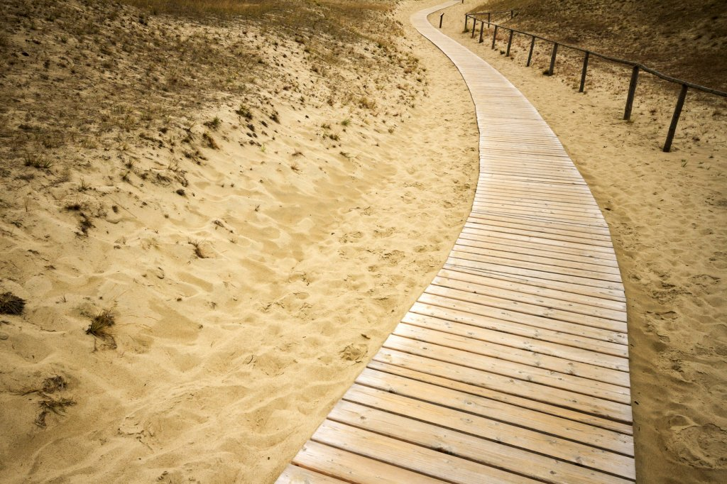 Wooden path to the sea over dunes in Lithuania