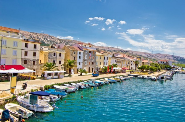 Town of Pag colorful waterfront, Dalmatia, Croatia