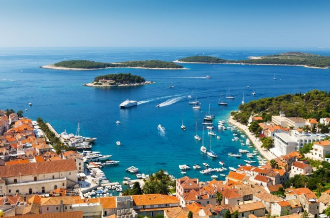 Beautiful view of harbor in Hvar town, Croatia