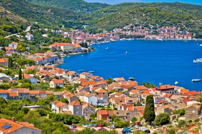 Island of Vis bay aerial view, Dalmatia, Croatia