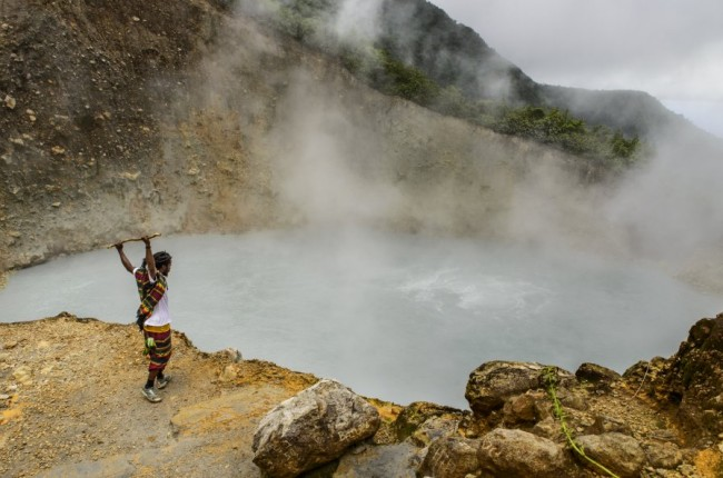 Touristic guide at the Boiling Lake