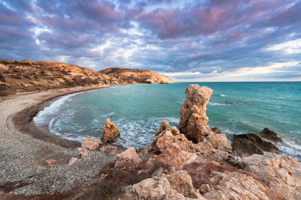 Petra tou Romiou, the birthplace of Aphrodite. Winter evening. Paphos. Cyprus.